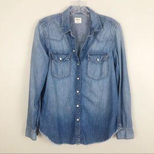 GAP Tops - Gap Denim Western Pearl Snap Button Shirt S